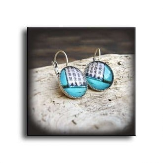 "Lever-back earrings with ""Asia Turquoise Grunge "" theme in deep turquoise"