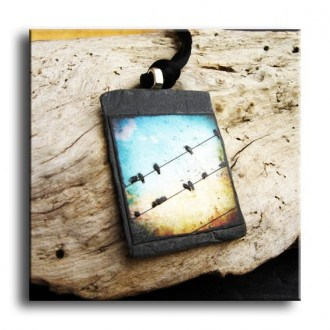 Slate necklace with birds on the wire and blue sky theme