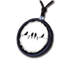 Birds on a wire themed slate necklace