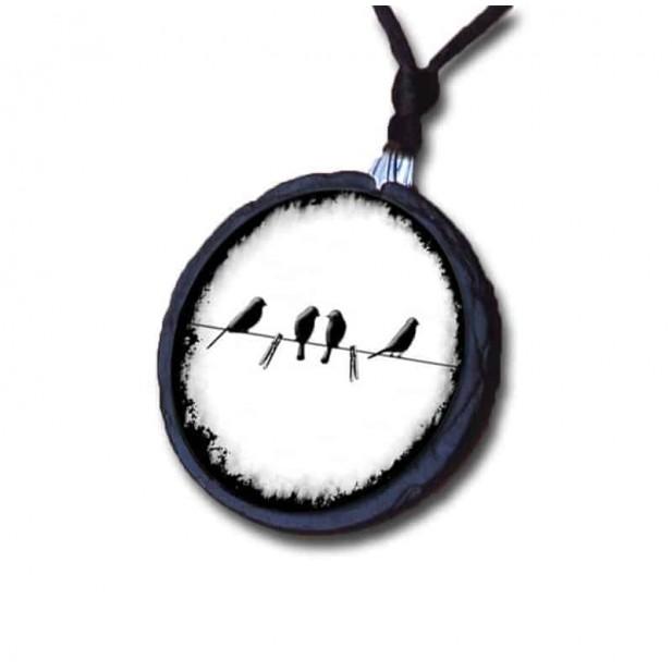 Collier en Ardoise Oiseaux sur le fil noir & blanc