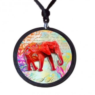 Red elephant themed slate necklace