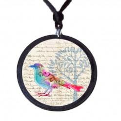 Halskette aus Schiefer mit dem Thema Pastell Blumen Vögel.