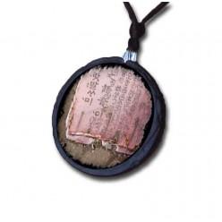 Collier en ardoise avec le thème papier chinois rose.