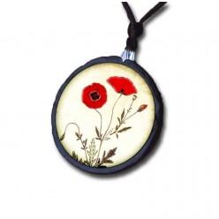 Halskette mit dem Thema Schiefer gemalte Mohnblumen.