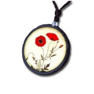 Poppy themed slate necklace