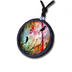 Birds on a branch multicolored slate necklace