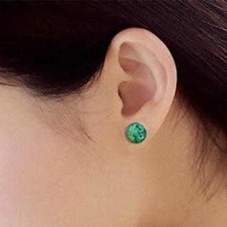 Boucles d'oreilles clous ou puces motif plumes de paon vert émeraude