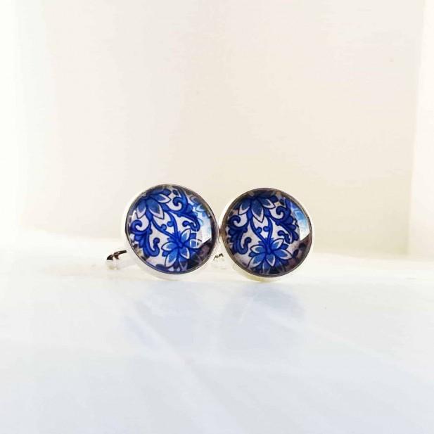 Boutons de manchette motif Damassée bleu.