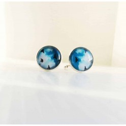 Cuff links with a blue sky and soaring birds design.