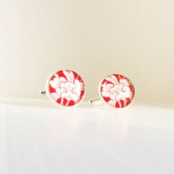 Japanese style red and white cuff links.