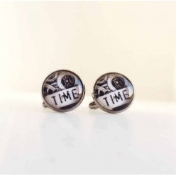 "Steampunk ""Time"" cuff links."