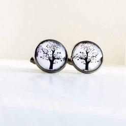 Boutons de manchette motif arbre de la vie en noir et blanc.