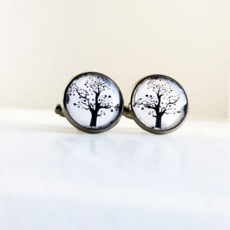 Tree of life black and white cuff links.