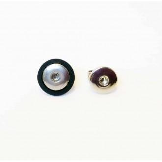 Bague en acier inoxydable pour cabochons interchangeables avec plateau noir