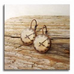 Boucles d'oreilles dormeuses thème Horloge cuivre
