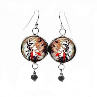 Dangle earrings with Japanese calligraphy theme in brown red and black colors