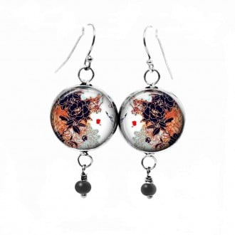 Dangle earrings with a Japanese leaves theme in rust and deep navy blue