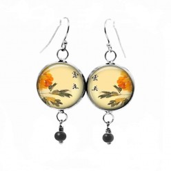 Dangle earrings featuring an asian floral theme in apricot and yellow tones