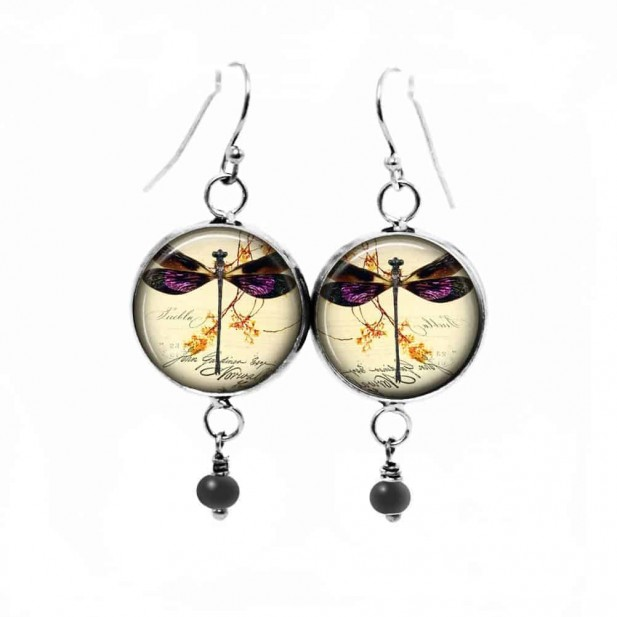 Dangle earrings featuring a dragonfly in purple and gold tones