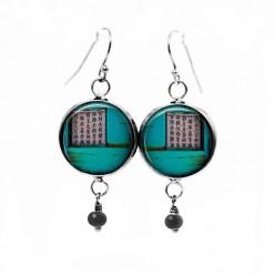 Boucles d'oreilles fantaisie pendantes avec le thème asia grunge turquoise