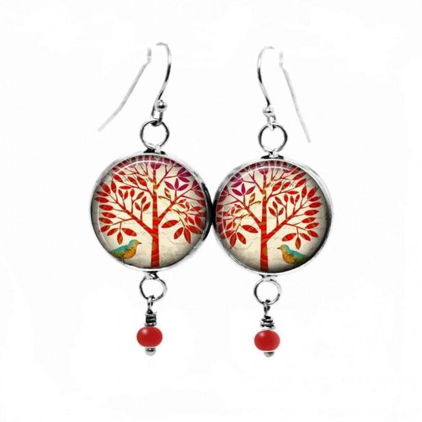 Boucles d'oreilles fantaisie pendantes avec le thème arbre de la vie rouge