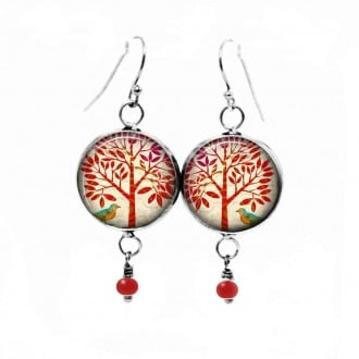Dangle earrings with a red tree of life theme