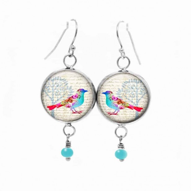 Boucles d'oreilles fantaisie pendantes avec le thème oiseau floral pastel