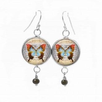 Boucles d'oreilles fantaisie pendantes avec le thème papillon vintage