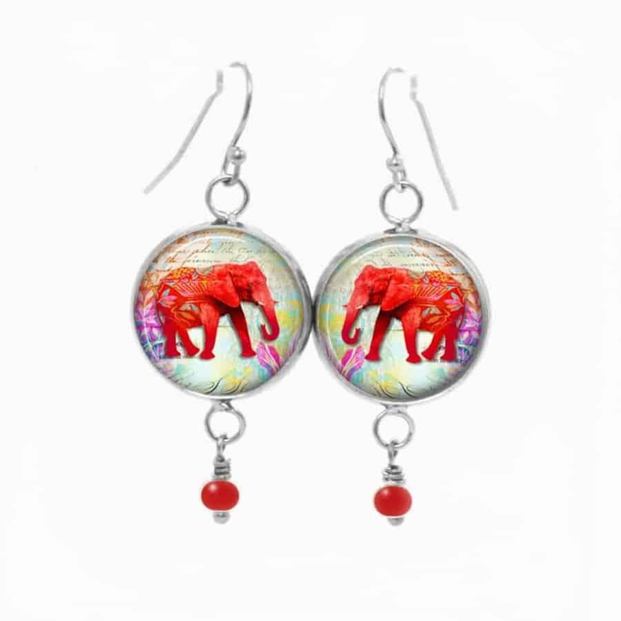 boucles d 39 oreilles fantaisie pendantes avec le th me l phant rouge. Black Bedroom Furniture Sets. Home Design Ideas