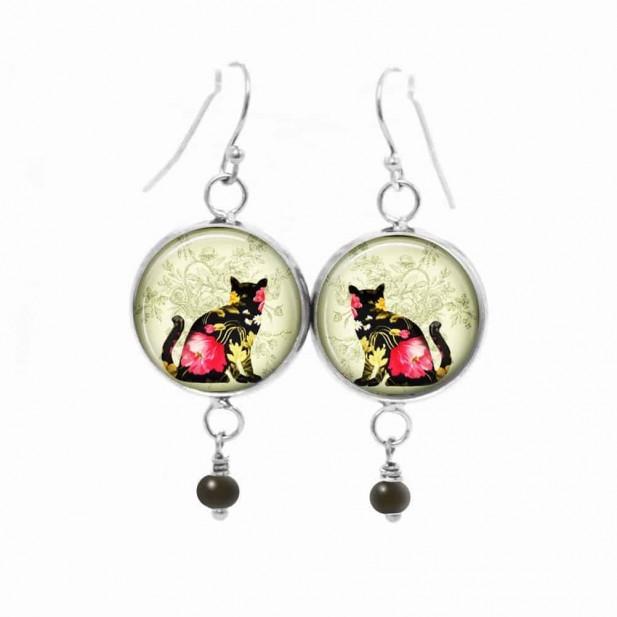 Boucles d'oreilles fantaisie pendantes avec le thème chat floral noir et rose