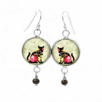 Dangle earrings with a floral cat theme