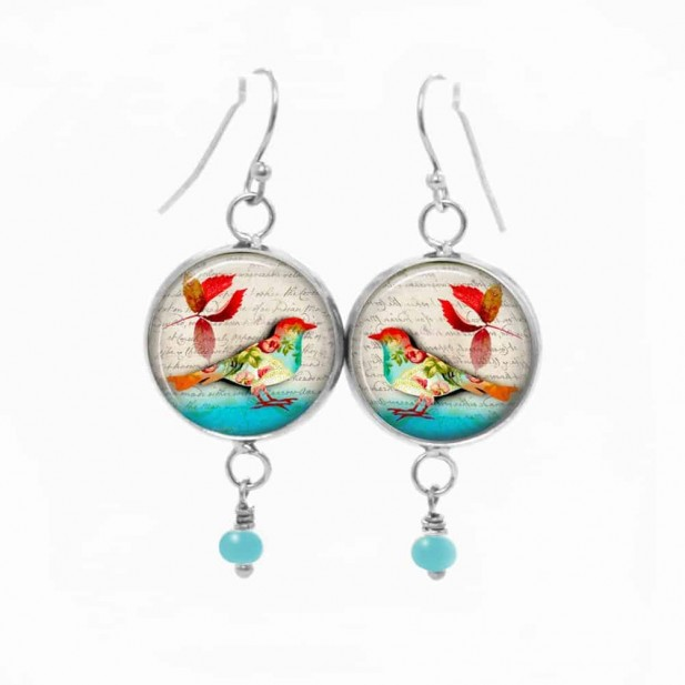 Dangle earrings with an autumn bird theme