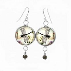 Boucles d'oreilles fantaisie pendantes avec le thème libellule et végétation