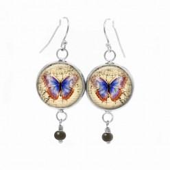 Boucles d'oreilles fantaisie pendantes avec thème papillon bleu vintage