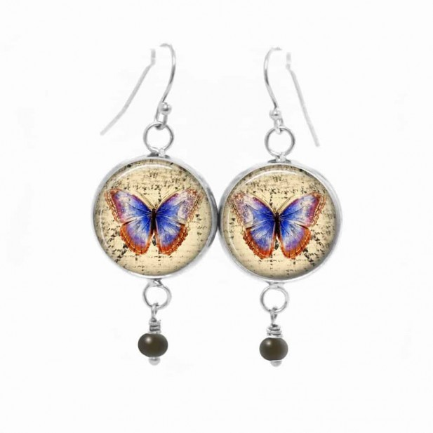 Dangle earrings with a navy blue butterfly theme