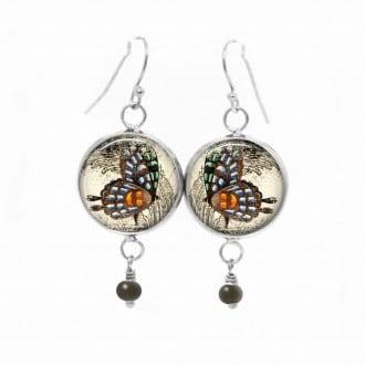 Boucles d'oreilles fantaisie pendantes avec le thème Profile de Papillons vintage