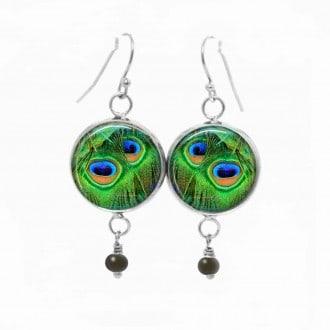 Boucles d'oreilles fantaisie pendantes avec thème plumes de paon naif vert profiond