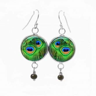 Dangle earrings with an emerald green peacock feather theme