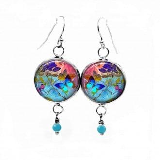 Boucles d'oreilles fantaisie pendantes avec le thème Papillon bleu
