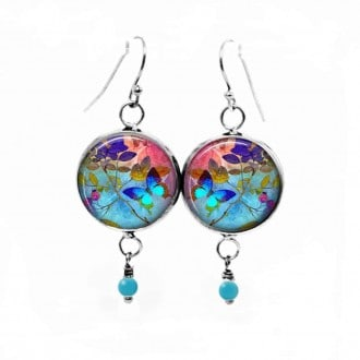 "Dangle earrings with ""Summertime"" Turquoise butterfly and background theme"