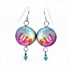 Boucles d'oreilles fantaisie pendantes avec le thème Summertime Papillon rose vif