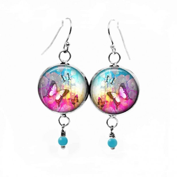 """Dangle earrings with """"Summertime"""" hot pink and turquoise theme"""