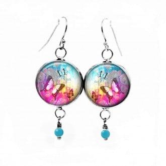 Ohrringe Lust auf hängen mit dem hellen rosa Sommer Schmetterling-Thema