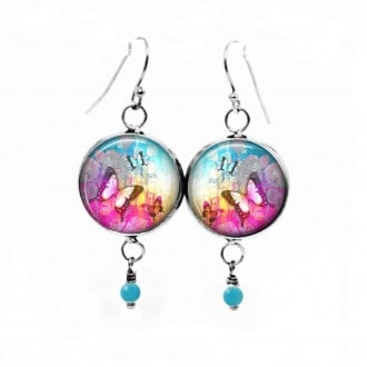 "Dangle earrings with ""Summertime"" hot pink and turquoise theme"