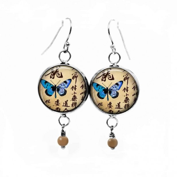 Dangle earrings with a turquoise Japanese butterfly theme
