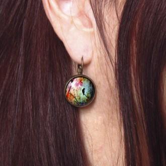 Boucles d'oreilles dormeuses Oiseaux sur la branche multicolore