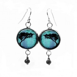 Turquoise Acacia Tortillis tree dangle earrings