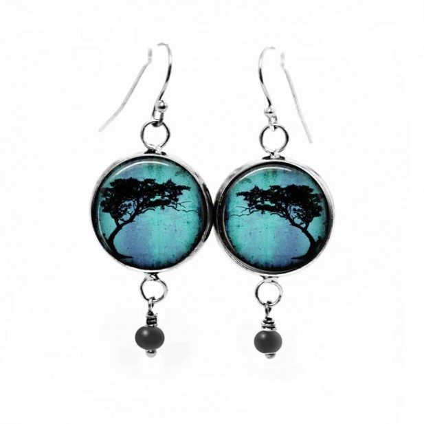 Turquoise Acacia Tortillis tree dangle earrings