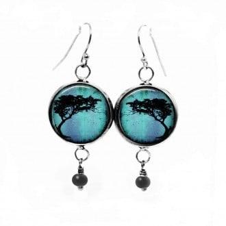 Boucles d'oreilles fantaisie pendantes avec le thème Arbre acacia d'afrique