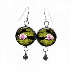 Waterlilly themed dangle earrings
